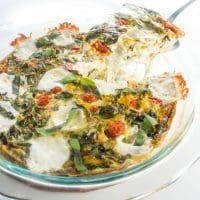 Caprese Crustless Quiche (Low Carb, Gluten-Free) - This 8-ingredient Caprese crustless quiche is gluten-free, low carb, and packed with summer flavors.