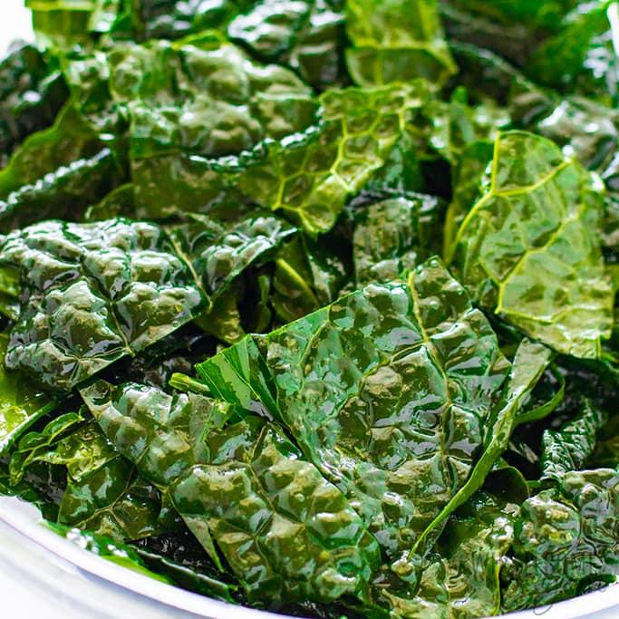 massaging kale for chips