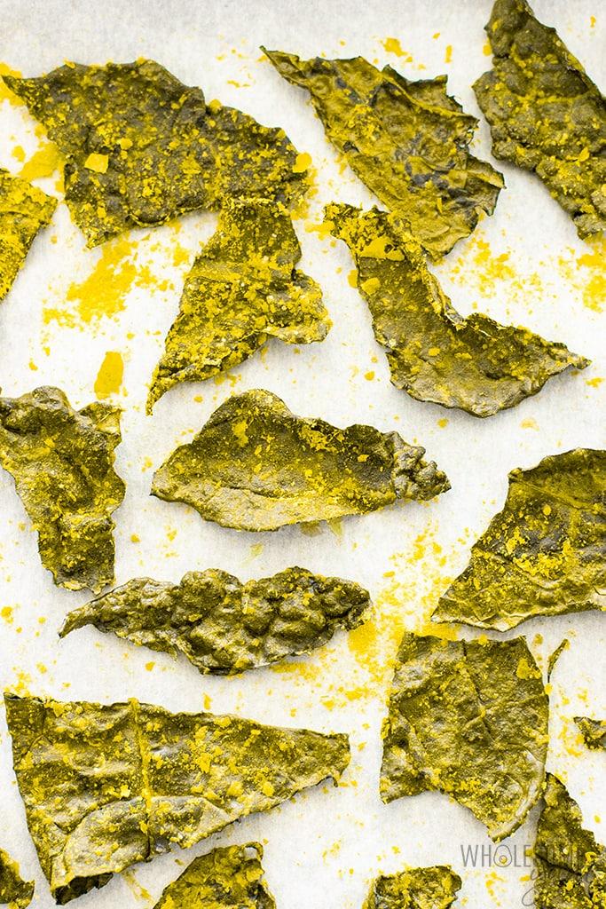 baked kale chips on baking sheet