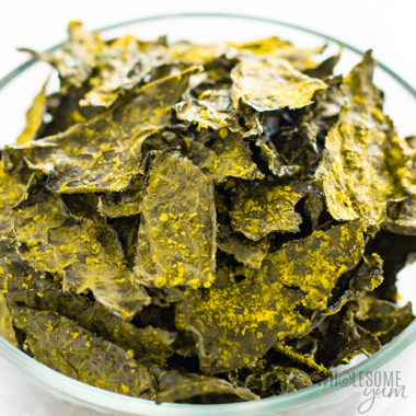 bowl of baked kale chips Detail: homemade-baked-kale-chips-recipe-2