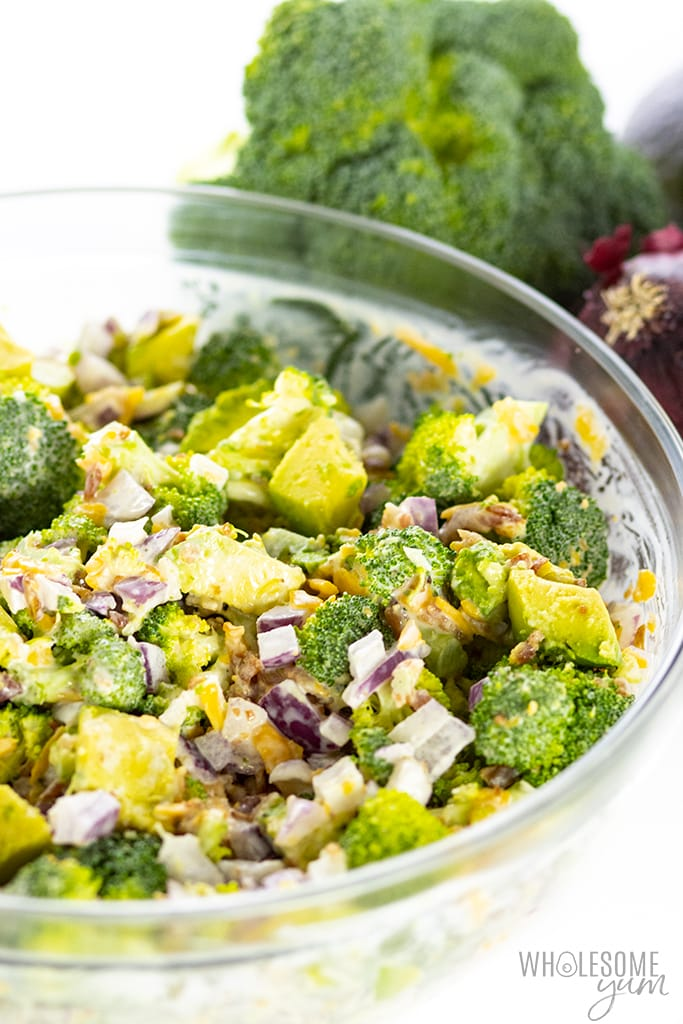 low carb broccoli salad in a bowl