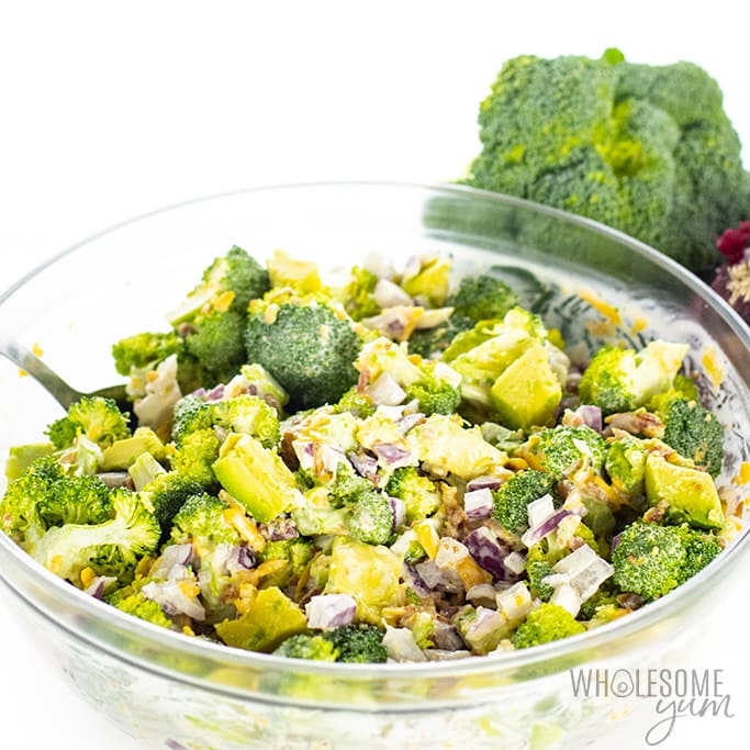 Low Carb Keto Broccoli Salad Recipe With Bacon And Cheese Wholesome Yum