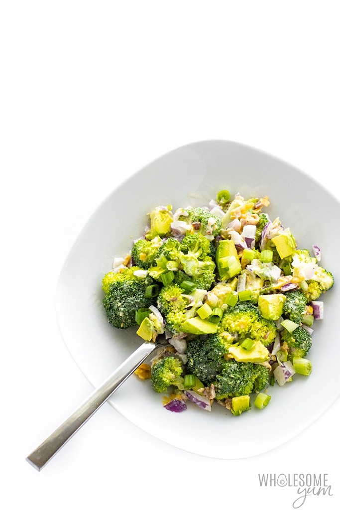 keto broccoli salad in a bowl