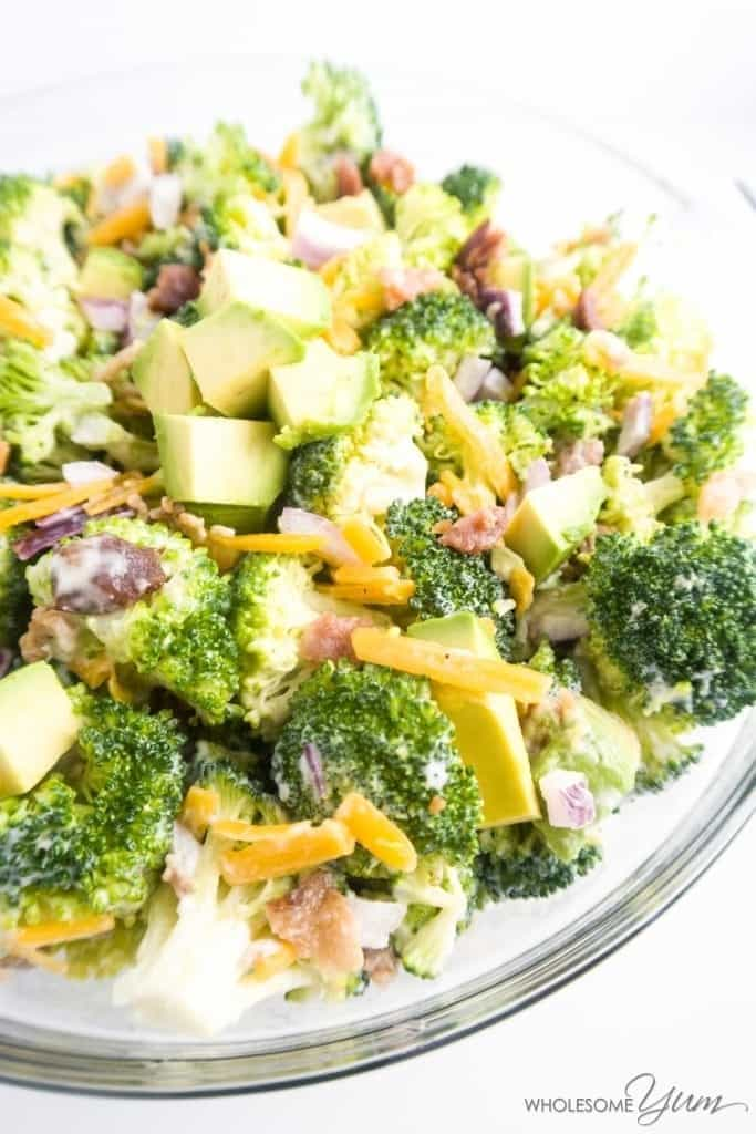This creamy, gluten-free, and low carb broccoli salad combines savory bacon, crunchy red onion, and avocado for extra flavor. Make it in 10 minutes!