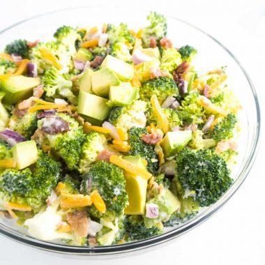 Low Carb Broccoli Salad Recipe with Bacon & Avocado (Gluten-free)