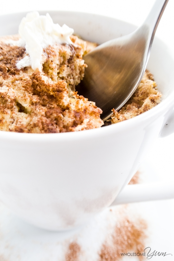 2-Minute Cinnamon Swirl Mug Muffin - This quick paleo, low carb cinnamon swirl mug muffin is light, moist, and fluffy, thanks to being made with a blend of coconut flour and golden flaxseed.