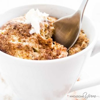 2-Minute Cinnamon Swirl Mug Muffin - This quick paleo, low carb, and nut-free cinnamon swirl mug muffin is light, moist, fluffy, and ready in just two minutes. Detail: cinnamon-swirl-mug-muffin-4