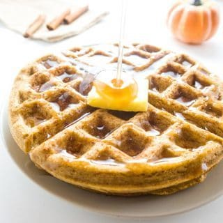 Flourless Pumpkin Waffles (Paleo, Low Carb) - These flourless pumpkin waffles are low carb, paleo, and easy as can be.