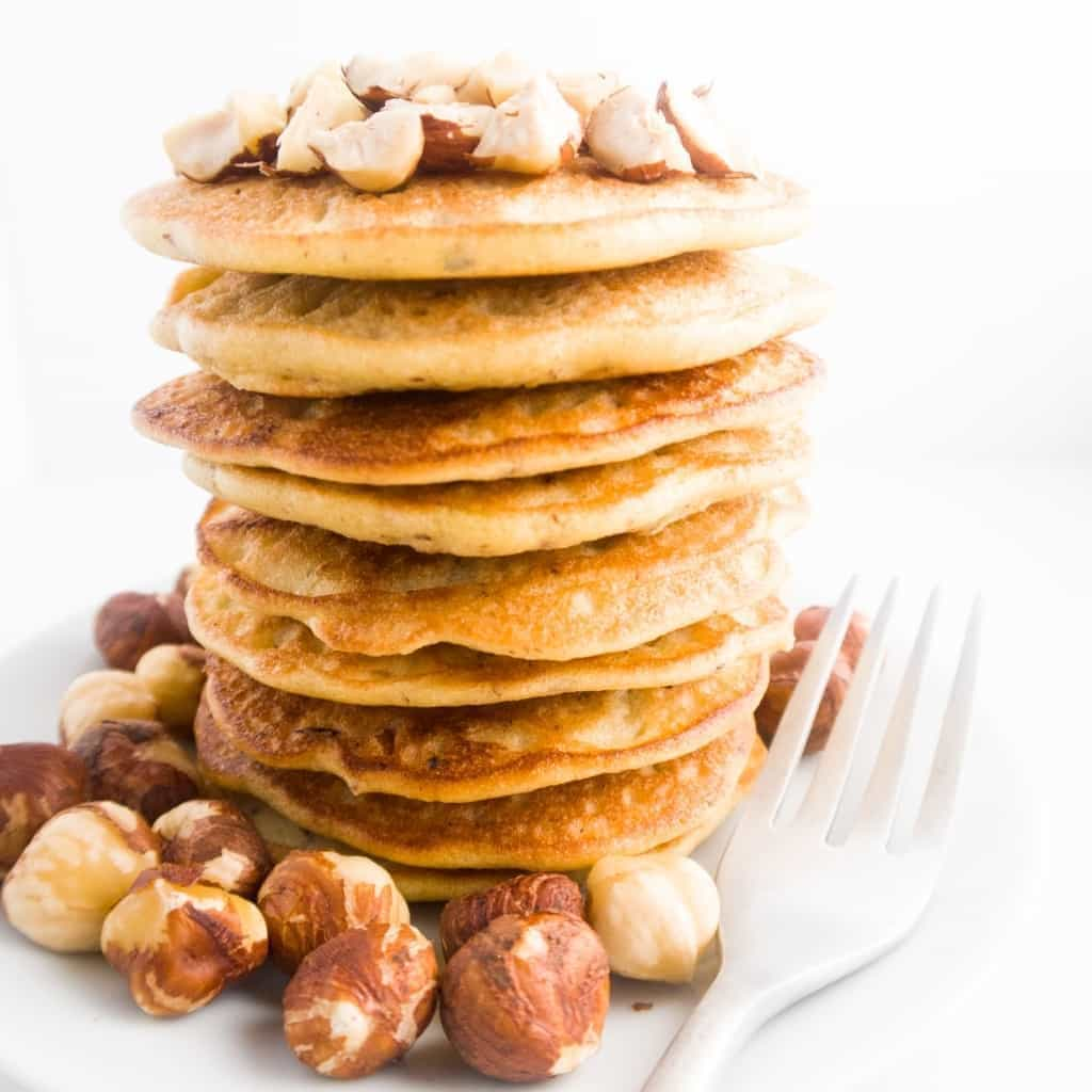 Hazelnut Pancakes (Low Carb, Gluten-free) - These paleo, low carb hazelnut pancakes have a nutty flavor, a fluffy texture, and a lovely hazelnut crunch.