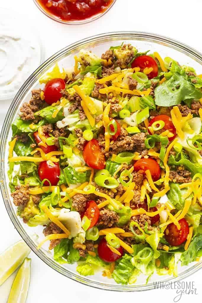 Taco salad in a bowl - close up