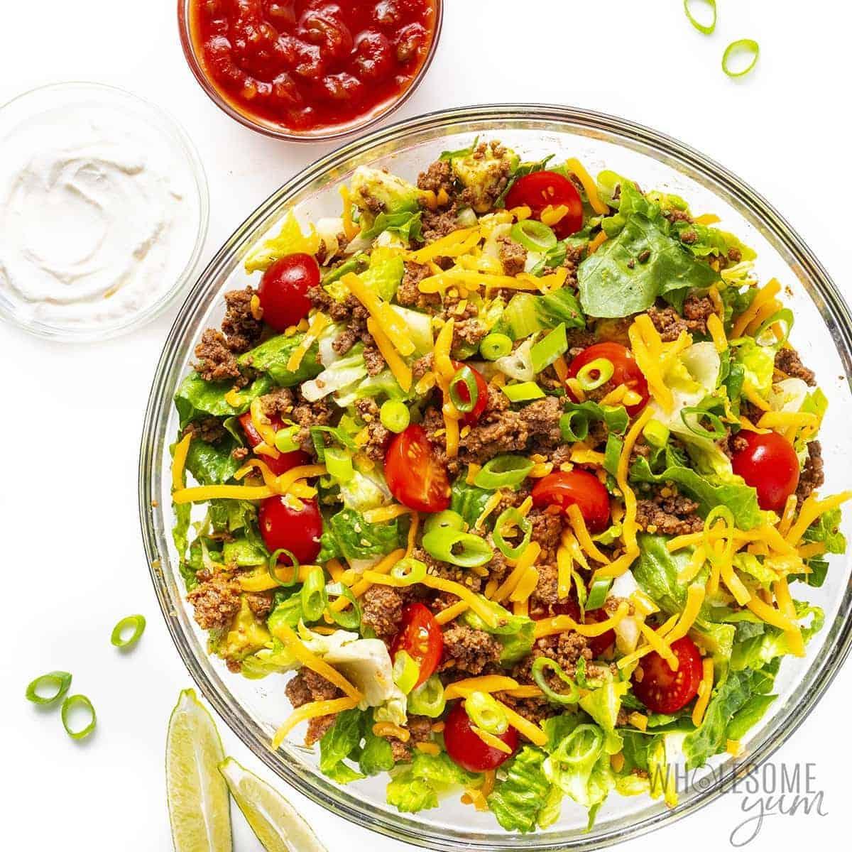 Healthy taco salad recipe in a bowl