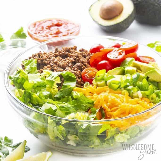 Assembled taco salad in a bowl