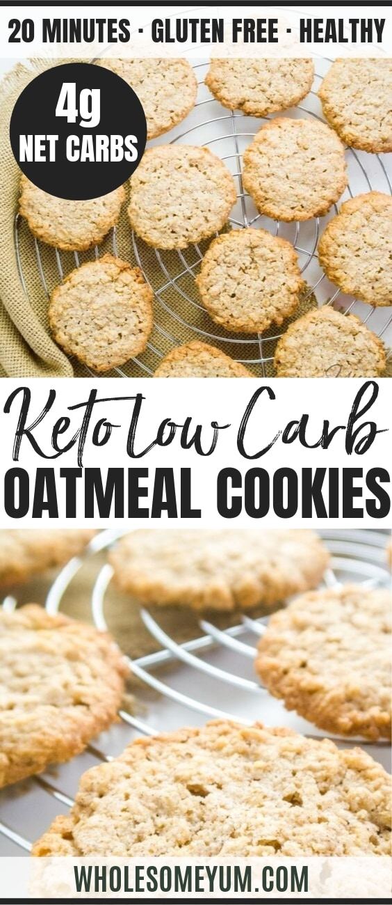 Easy Sugar-free Oatmeal Cookies (Low Carb, Gluten-free) - Pinterest Image