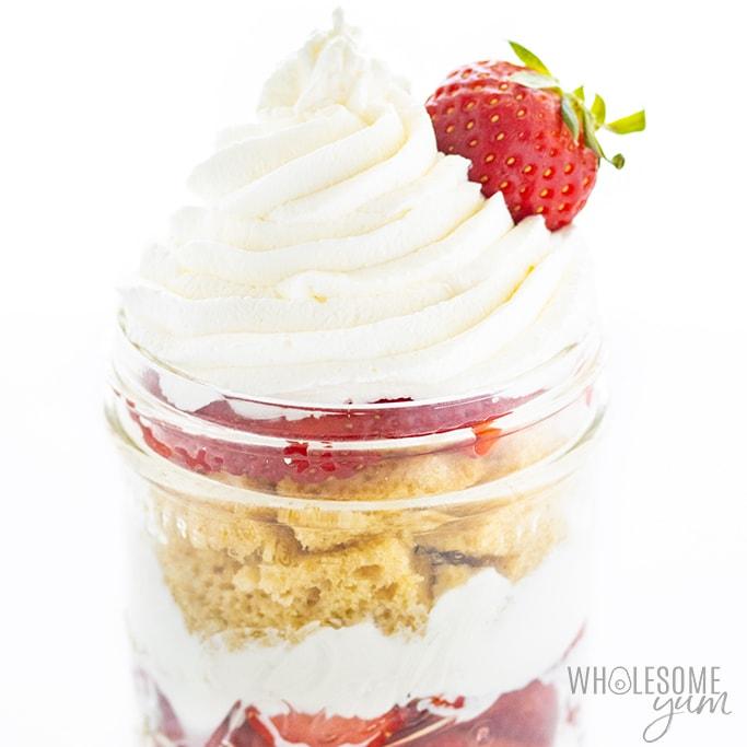 keto strawberry shortcake in a jar