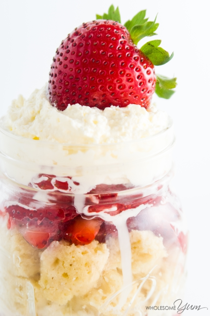 5-Minute Sugar-free Strawberry Shortcake in a Jar (Low Carb, Gluten-free) - This sugar-free strawberry shortcake in a jar takes just 5 minutes. Make the 2-minute mug cake, then build layers. Low carb & gluten-free, w/a paleo option.