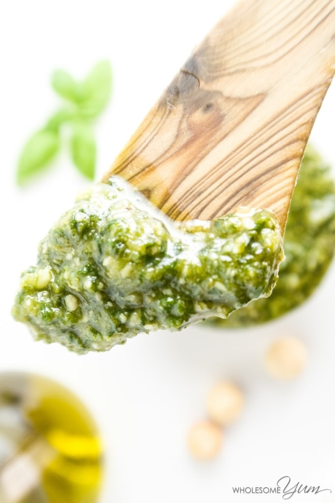 closeup of basil pesto recipe