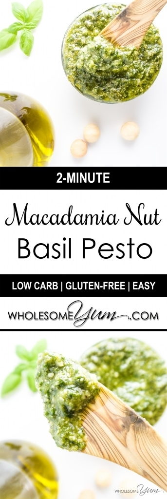 2-Minute Macadamia Nut Pesto (Low Carb, Gluten-free) - This easy macadamia nut pesto is naturally low carb and gluten-free. Macadamia nuts provide extra rich flavor and it takes just two minutes to whip up.