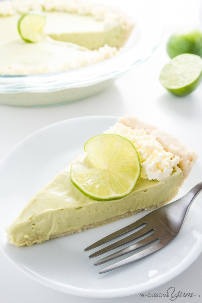 sugar-free key lime pie slice with fork