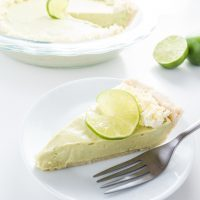 No-Bake Key Lime Pie (Low Carb, Gluten-free) - This creamy, refreshing key lime pie requires only 7 ingredients, 10 minutes of prep time, and no baking at all. Low carb, gluten-free, and sugar-free.