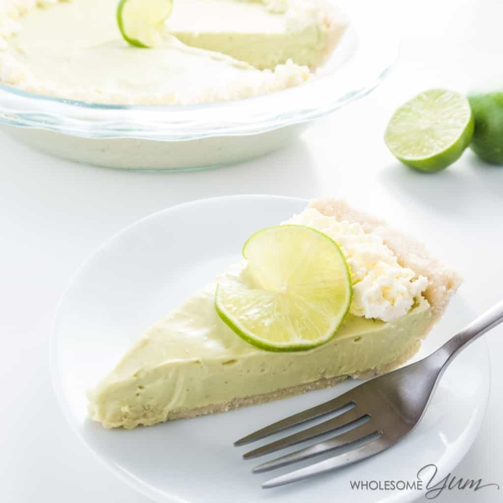 slice of low carb key lime pie