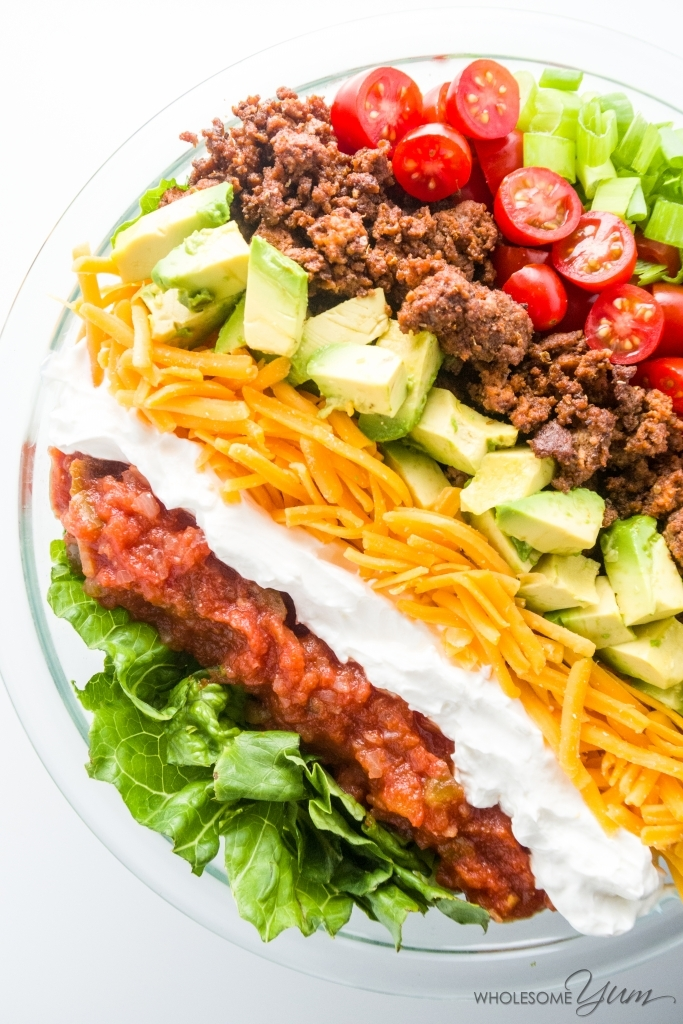 Healthy Taco Salad (Low Carb, Gluten-free) - This easy, gluten-free, low carb, and healthy taco salad recipe is like a beef taco in a bowl. Just 10 ingredients and ready in 20 minutes!