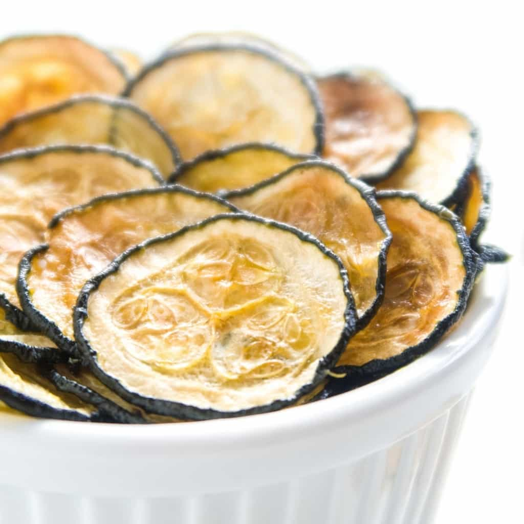 baked zucchini chips in a bowl