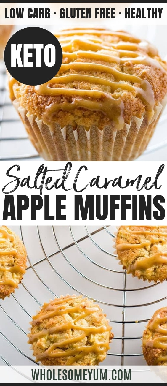 Sugar-free Apple Muffins with Salted Caramel (Low Carb, Gluten-free) - Pinterest Image