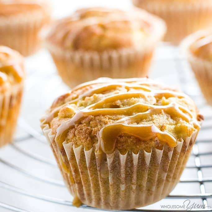 Sugar-free Apple Muffins with Salted Caramel (Low Carb, Gluten-free) - These low carb, gluten-free, and sugar-free apple muffins have a delicious salted caramel drizzle. Only 10 ingredients total!