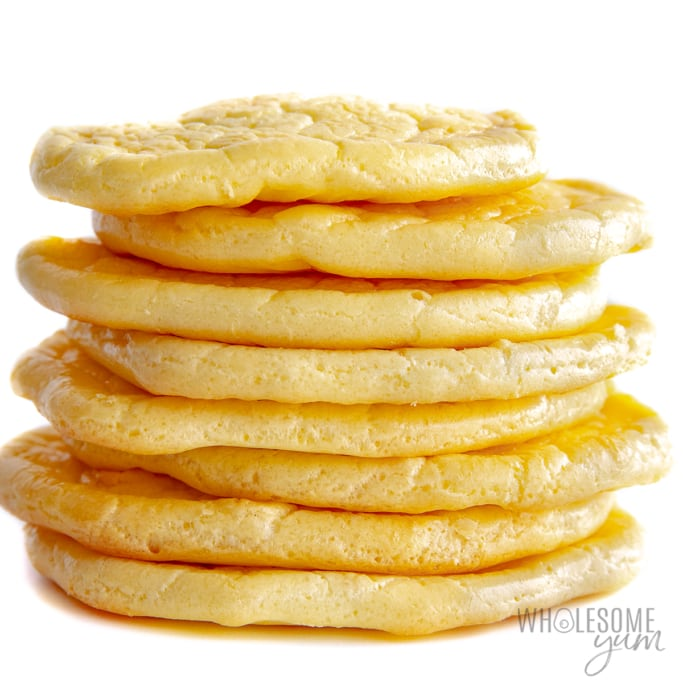 Stack of cloud bread recipes on white background