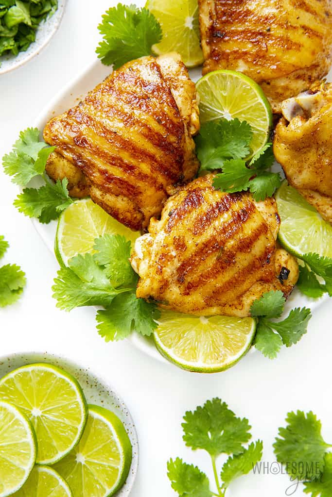 Baked cilantro lime chicken on a plate
