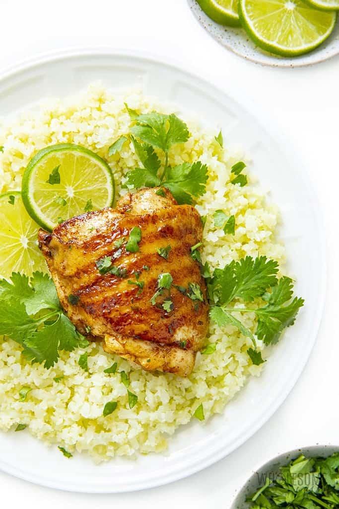 Cilantro lime chicken on cauliflower rice