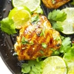 Cilantro lime chicken on a grill pan