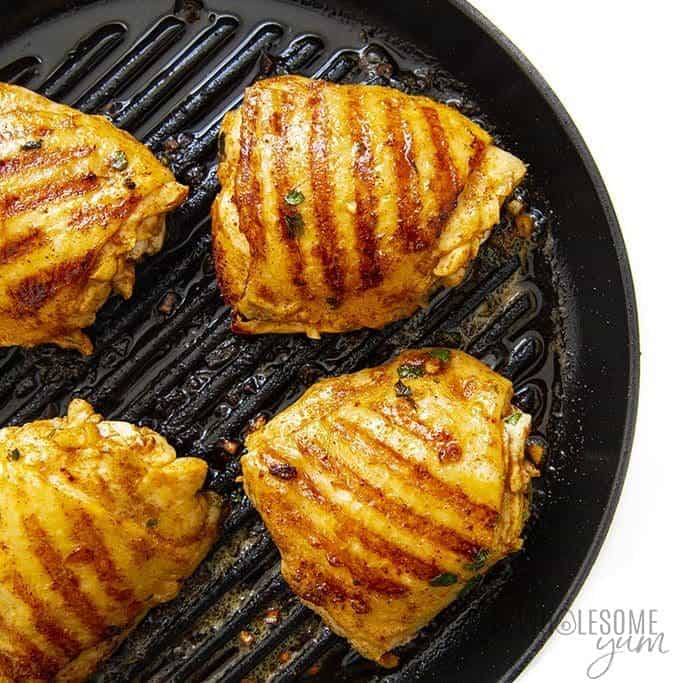 Cilantro lime chicken thighs on a grill pan