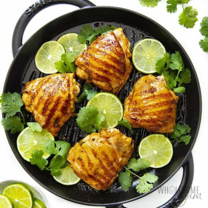 Cooked cilantro lime chicken thighs on grill pan