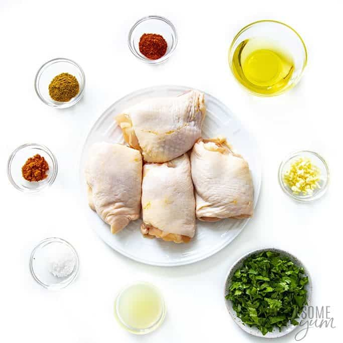 Ingredients to make cilantro lime chicken thighs