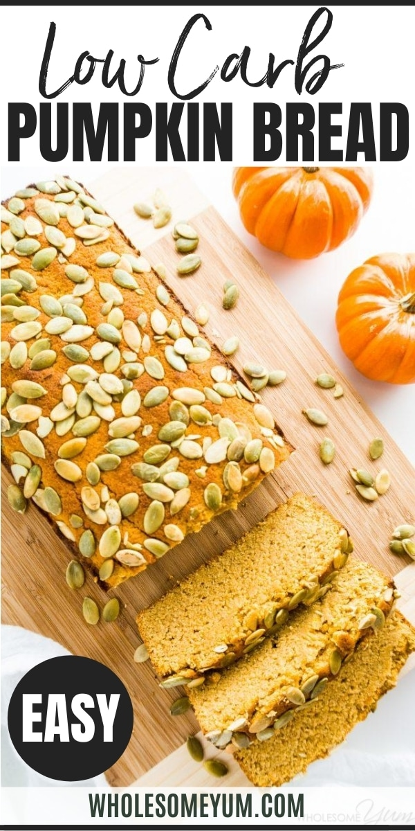 Keto Paleo Low Carb Pumpkin Bread Recipe - Quick & Easy - This moist, keto low carb pumpkin bread is made with almond flour & coconut flour. And, this paleo pumpkin bread recipe is EASY with 10-minute prep! Sugar-free and gluten-free, but tastes just like the real thing.