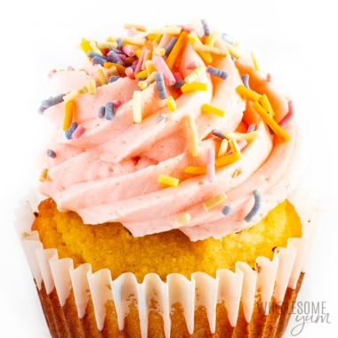 Keto cupcake recipe with lots of frosting (close up top)