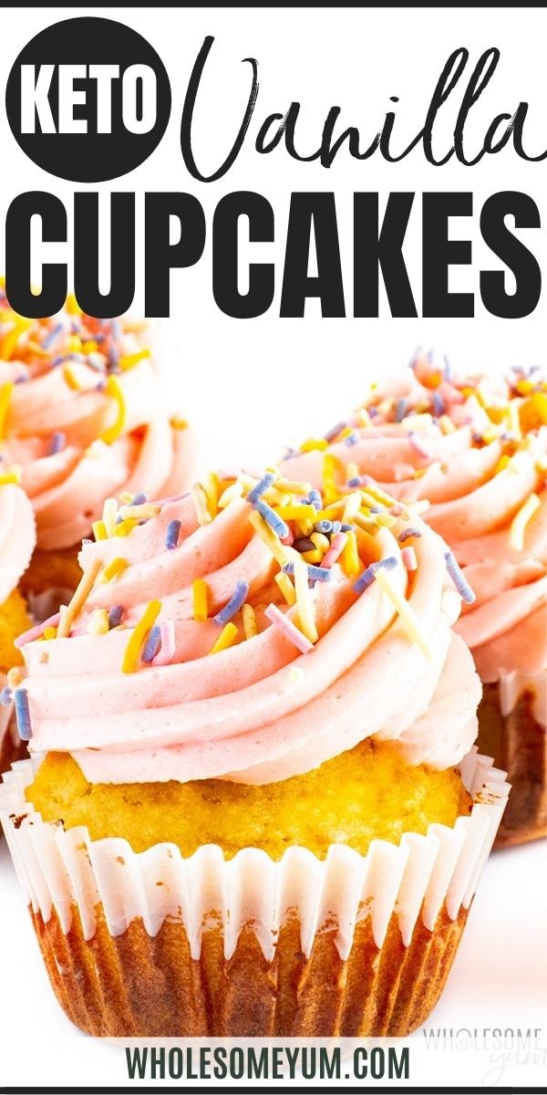 Keto vanilla cupcake recipe pin