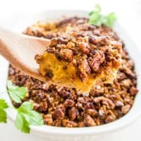 Pecan Roasted Better-Than-Sweet-Potato Casserole (Low Carb, Paleo) - This low carb, pecan-crusted butternut squash cauliflower casserole tastes like holiday sweet potatoes, but it's gluten-free, sugar-free, paleo, keto, THM S & whole 30.