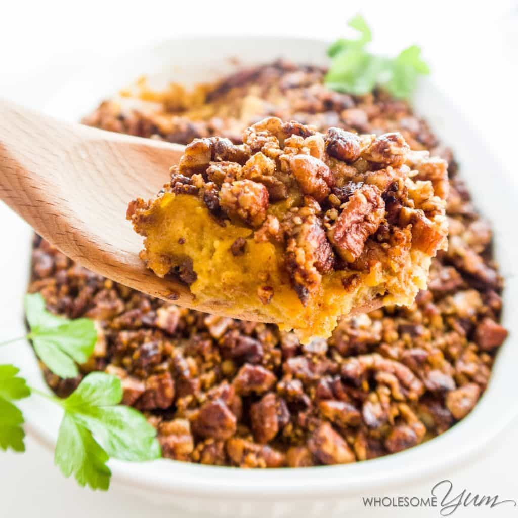 Low Carb Sweet Potato Casserole - Healthy Sweet Potato Casserole - This butternut squash cauliflower casserole (healthy low carb sweet potato casserole) tastes like sweet potatoes, but is sugar-free, paleo, keto & whole 30.