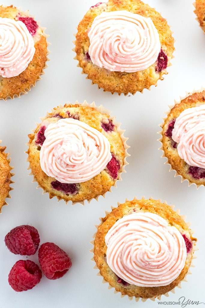 Sugar Free Cupcakes Recipe With Raspberry Frosting Low Carb Paleo