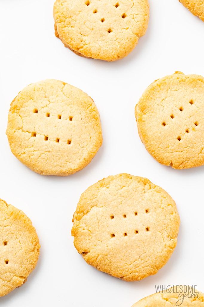 gluten-free shortbread cookies on a baking sheet