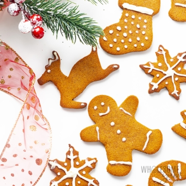 Keto gingerbread cookies decorated with icing