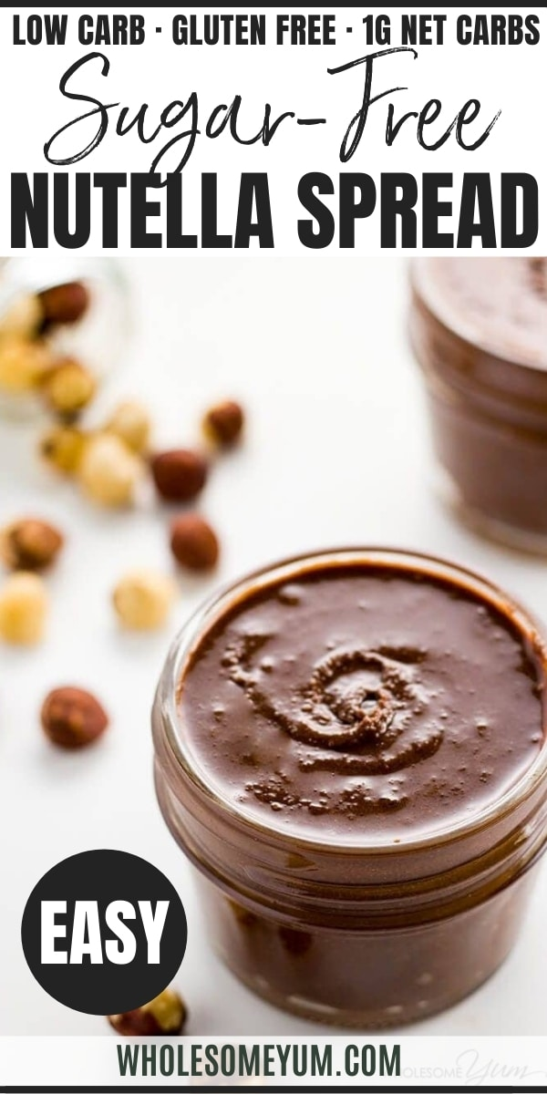 5-Ingredient Sugar-free Nutella Spread (Low Carb, Paleo) - This sugar-free Nutella recipe makes the perfect chocolate hazelnut spread. Low carb, paleo, sugar-free, gluten-free and just delicious. Only 5 ingredients!
