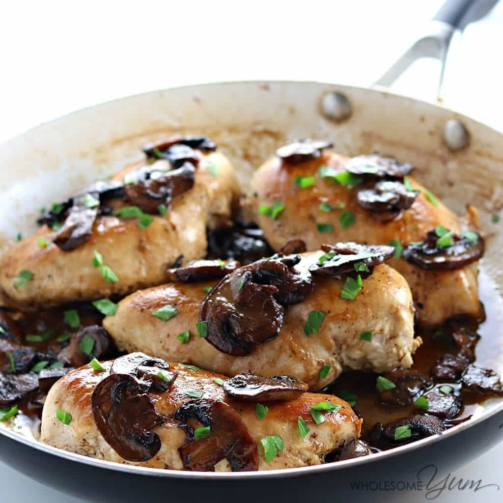 6-Ingredient Easy Chicken Marsala (Low Carb, Paleo) - This easy one-pan chicken marsala recipe is low carb, gluten-free, paleo, and made with just six ingredients in a skillet.