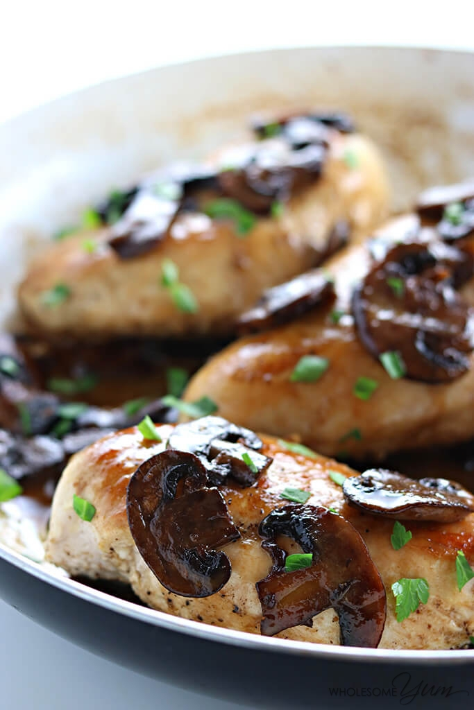 6-Ingredient Easy Chicken Marsala (Low Carb, Paleo) - This easy, one-pan low carb chicken marsala recipe is gluten-free, paleo, and made with just six ingredients in a skillet.