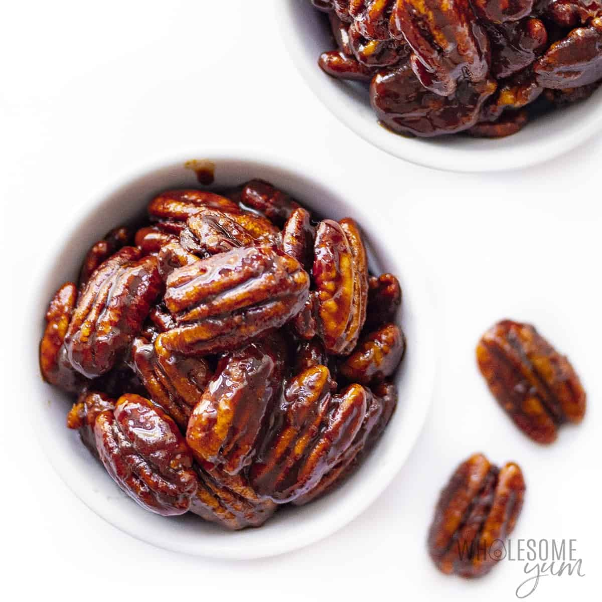 Bowls of keto candied nuts