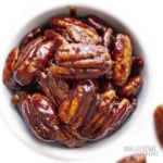 Bowl of keto candied pecans
