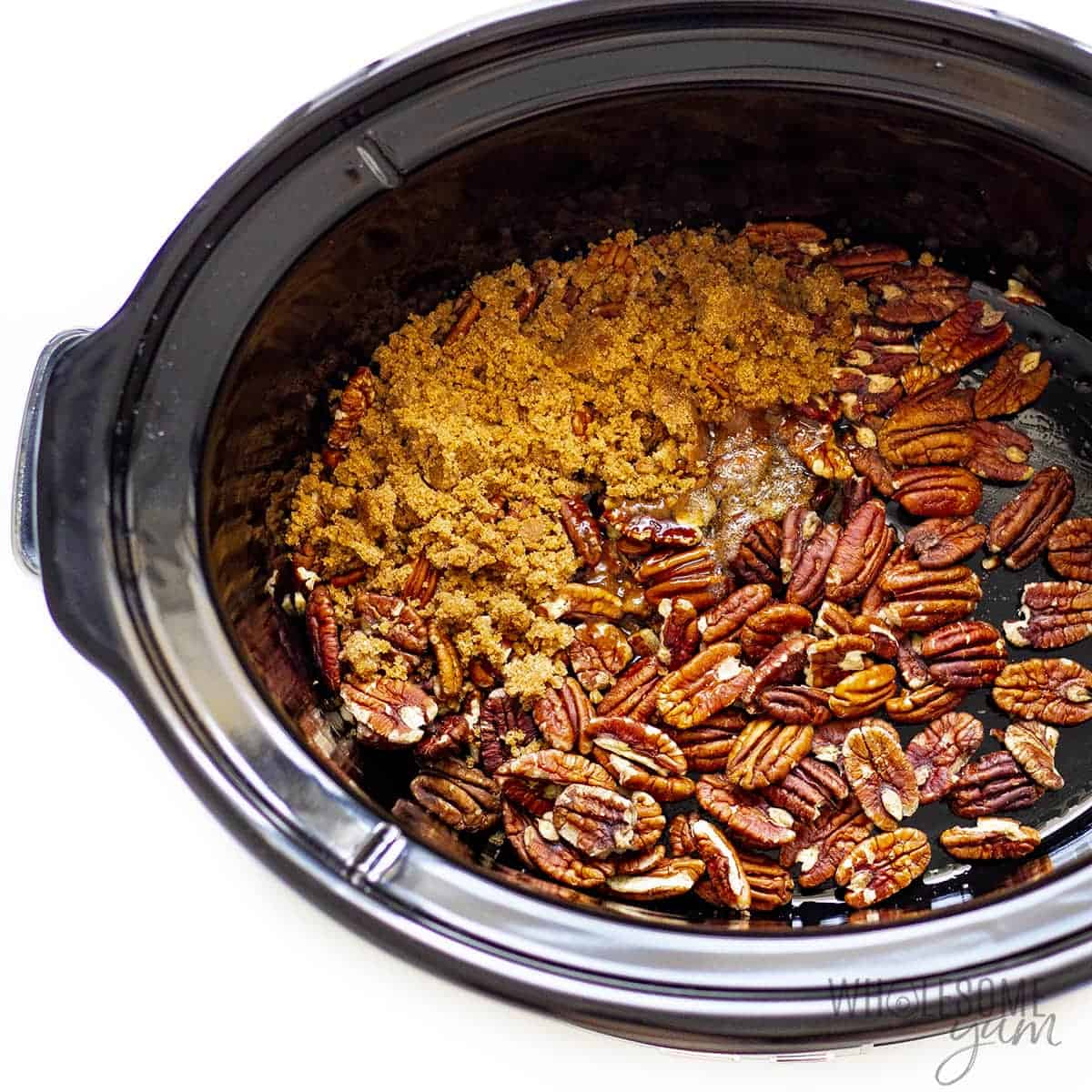 Keto candied nuts in a slow cooker