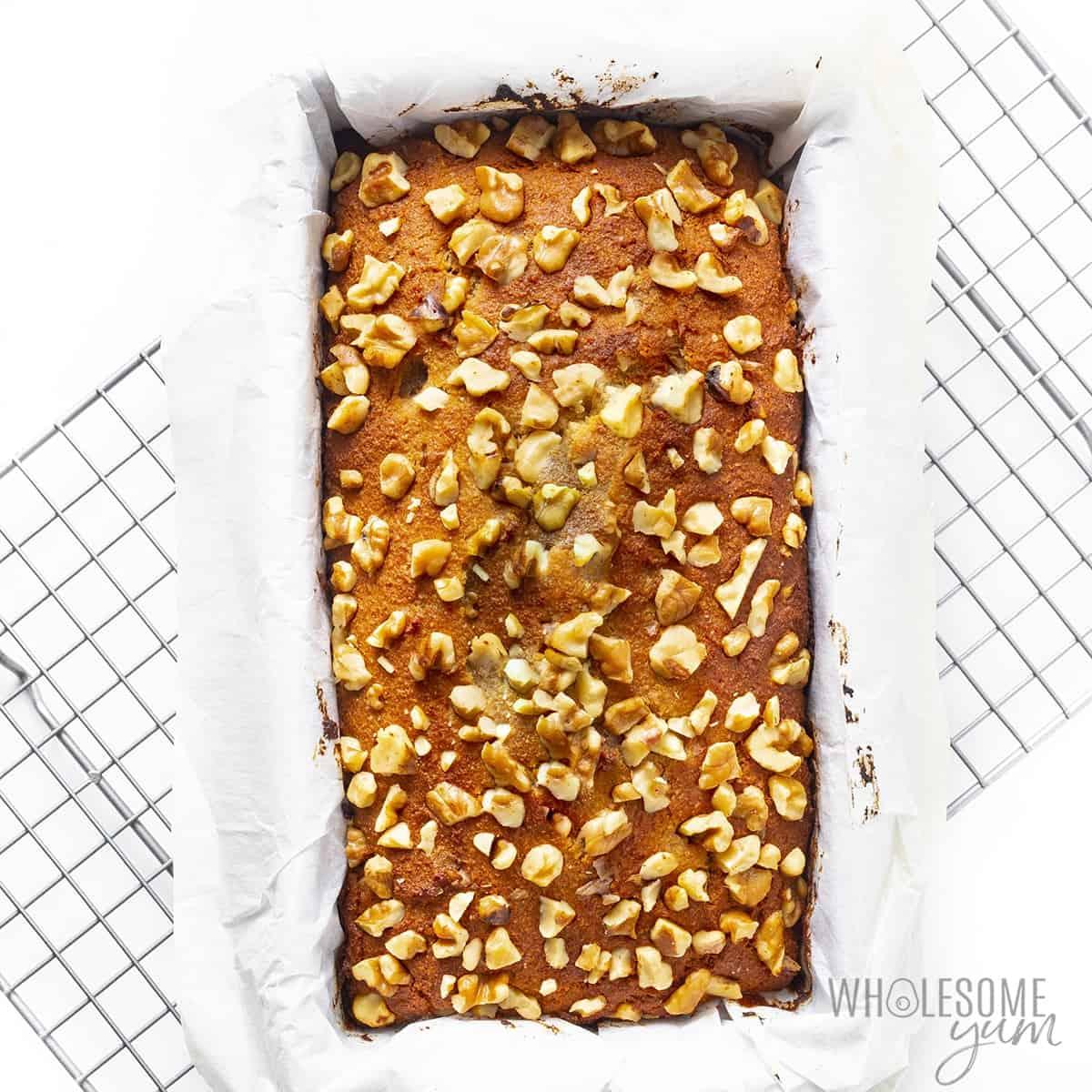 Sugar free banana bread in loaf pan